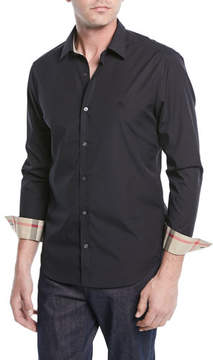 Burberry Cambridge Check-Trim Woven Shirt, Black