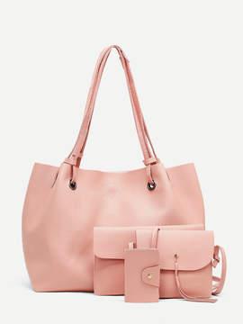Shein Raw Edge Tassel Detail PU Bag Set 4pcs