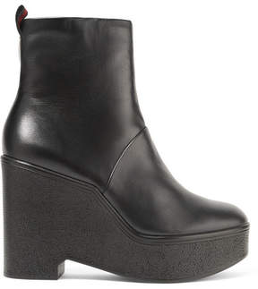 Robert Clergerie Bisouto Leather Platform Ankle Boots - Black