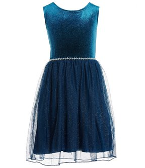 Xtraordinary Big Girls 7-16 Glitter Velvet Fit-And-Flare Dress