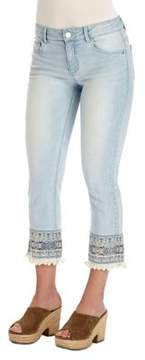 Democracy Embroidered Cropped Jeans