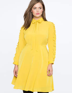 ELOQUII Ruffle Sleeve Dress with Bow Detail