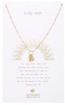 Dogeared Lucky Wish! Wishbone & Bezel Set Labradorite Cluster Pendant Necklace