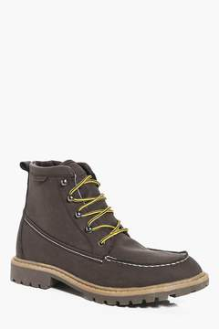 boohoo PU Hiking Boots With Borg Lining