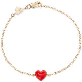 Alison Lou Heart Enameled 14-karat Gold Bracelet