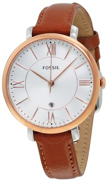 Fossil Jacqueline Silver Dial Brown Leather Ladies Watch