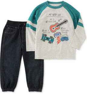 Kids Headquarters Wish List Graphic-Print Shirt & Jogger Pants Set, Toddler Boys (2T-5T)