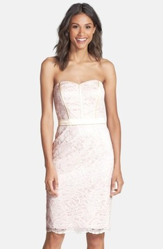 Dessy Collection Women's Strapless Lace Overlay Matte Satin Dress