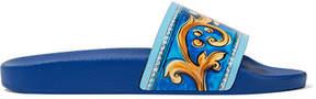 Dolce & Gabbana Printed Leather Slides - Blue