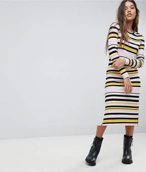 Noisy May Striped Midi Dress