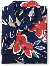 Lands' End Men's Traditional Fit Short Sleeve Vacation Collar Shirt-Wild Berry Floral