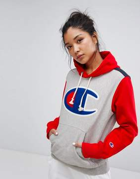 Champion Hoodie With Color Block & Front Logo