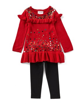 Flapdoodles Little Girls 2T-6X Sequin-Embellished Ruffle-Trimmed A-Line Dress & Solid Leggings Set