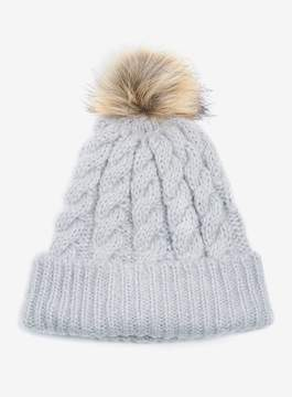 Dorothy Perkins Grey Laguna Faux Fur Pompom Beanie Hat