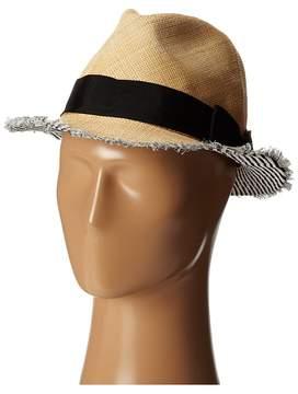 San Diego Hat Company EBH9890 Woven Raffia Fray Edge Fedora w/ Bow Fedora Hats
