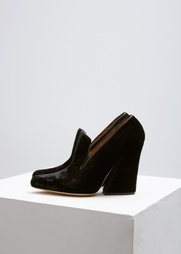 Dries Van Noten Black Velvet Stacked Heel Pump
