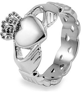 Celtic West Coast Jewelry Crucible Stainless Steel Claddagh Ring with Knot Eternity Design