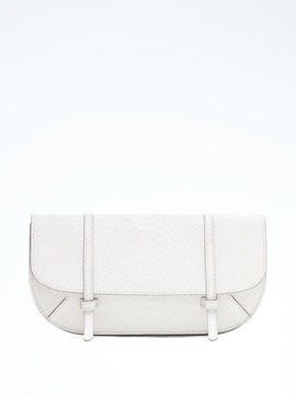 Snake-Effect Leather Half-Moon Double-Strap Clutch