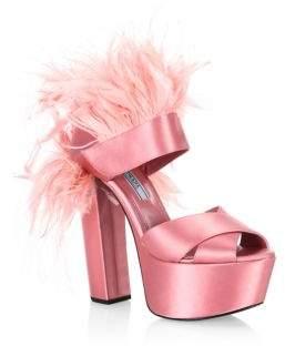 Prada Feather-Trim Satin Platform Sandals