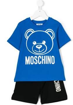 Moschino Kids teddy logo print shorts set