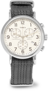 Timex Weekender Stainless Steel And Webbing Chronograph Watch