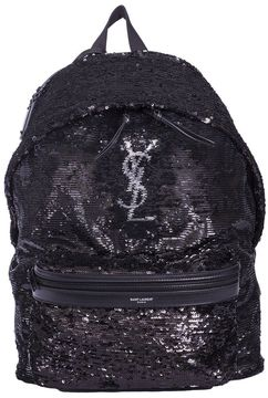 Saint Laurent Black Sequins Backpack - BLACK - STYLE
