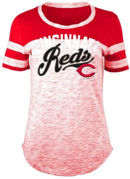 5th & Ocean Women's Cincinnati Reds Space Dye Cb Yoke T-Shirt