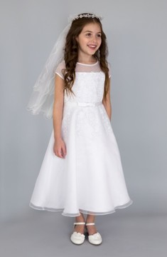 Us Angels Girl's Illusion Neckline Fit & Flare Dress