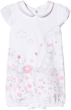 Mayoral White Bunny and Flower Print Romper