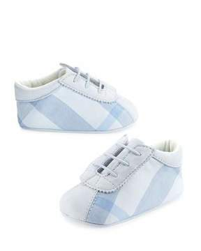 Burberry Bosco Check & Leather Baby Booties, Blue