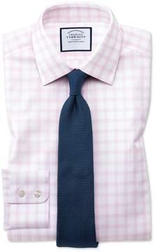 Charles Tyrwhitt Classic Fit Windowpane Check Pink Cotton Dress Shirt Single Cuff Size 16/33