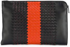 Bottega Veneta striped intrecciato document case