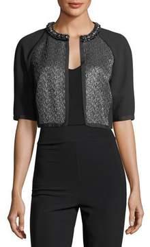 Carmen Marc Valvo Cropped Metallic Tweed Cocktail Jacket
