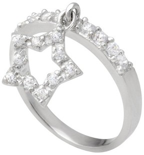 Journee Collection Tressa Collection Cubic Zirconia Dangle Star Ring in Sterling Silver