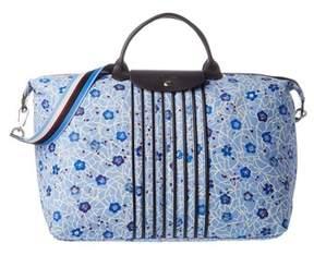 Longchamp Le Pliage Fleuri Large Nylon Travel Bag. - BLUE - STYLE