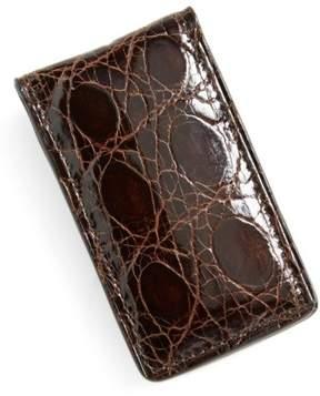 Boconi Men's Crocodile Magnetic Money Clip - Brown