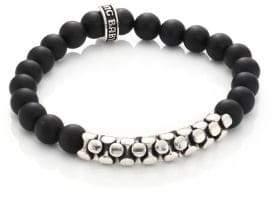 King Baby Studio Onyx & Sterling Snake Link Bracelet