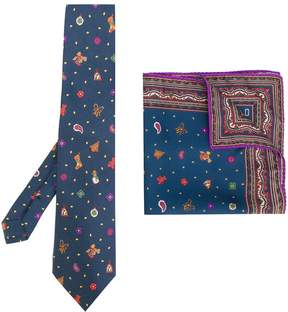 Etro Christmas print tie and pocket square set