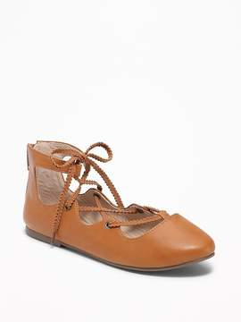 Old Navy Faux-Leather Lace-Up Ballet Flats for Girls