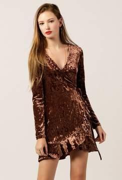 Azalea Velvet LS Wrap Dress