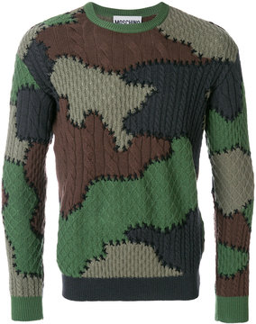 Moschino camouflage cable knit sweater