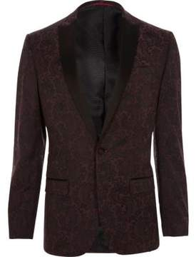 River Island Mens Red satin peak lapel slim fit blazer