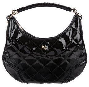 Burberry Quilted Patent Hobo - BLACK - STYLE