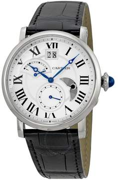 Cartier Rotonde Automatic Silver Dial Black Leather Men's Watch