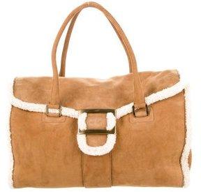 Roger Vivier Suede Shearling-Trimmed Bag