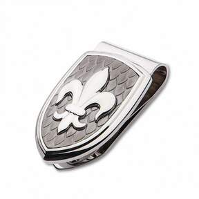 Zales Men's Fleur-de-Lis Carbon Fiber Shield Money Clip in Stainless Steel