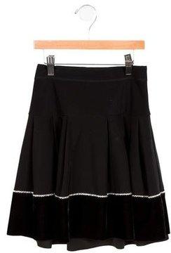 MonnaLisa Girls' Velvet-Trimmed Embellished Skirt
