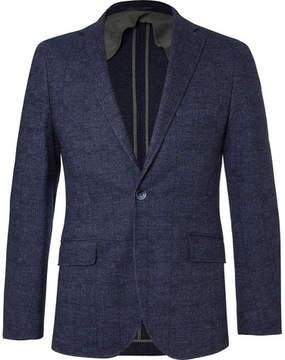 Hackett Blue Mayfair Slim-Fit Checked Wool And Cotton-Blend Blazer