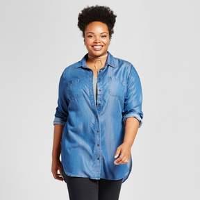 Ava & Viv Women's Plus Size Tencel® Button Down Tunic Medium Wash