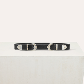 Maje Double scalloped buckle leather belt